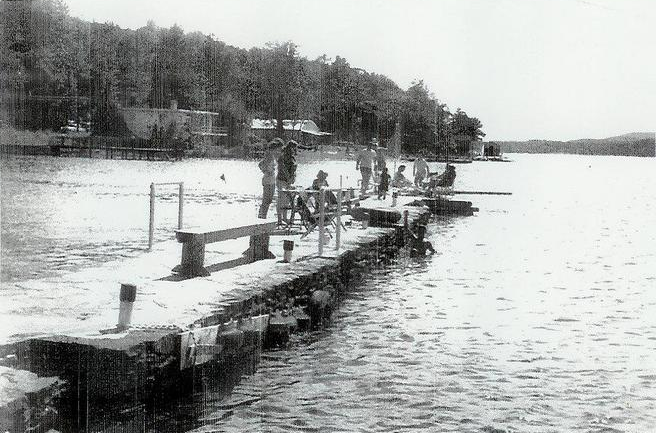 Rented dock from Robert Stull, north of the Hangar. - 1955